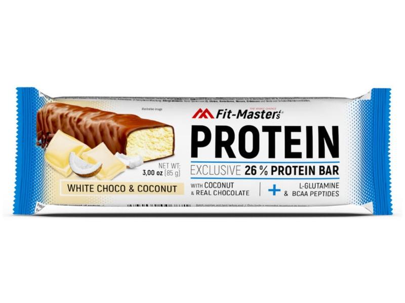 Fit-Master´s Proteinová tyčinka Bílá čokoláda & kokos 85g