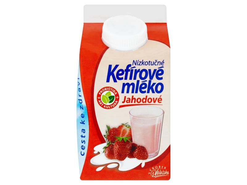 Mlékárna Valašské Meziříčí Kefírové mléko nízkotučné jahodové 0,8% 450g