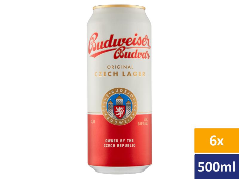 Budweiser Budvar B:Original světlý ležák pivo 6 x 0,5l, plech