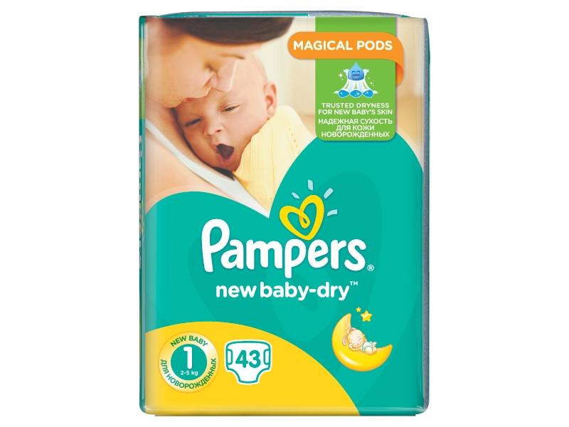 Pampers New Baby-Dry Dětské Plenky Velikost 1 (Newborn), 43 ks