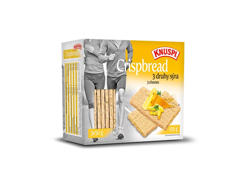 Knuspi Crispbread vícezrnné plátky 3 druhy sýra, 150g