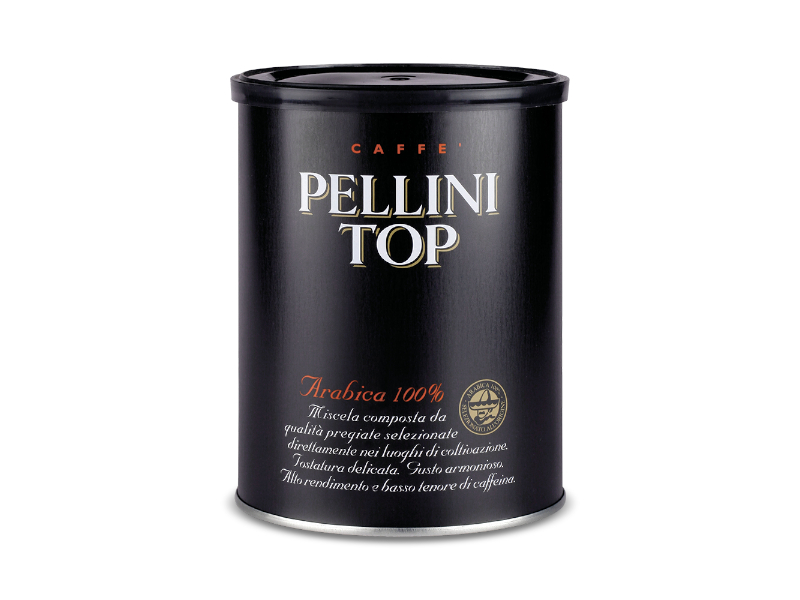 Pellini TOP 100% Arabica Mletá káva 250g, plechová dóza